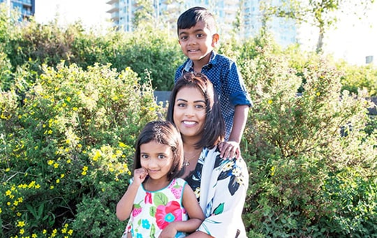 Dr. Niromi Fernando with her two children