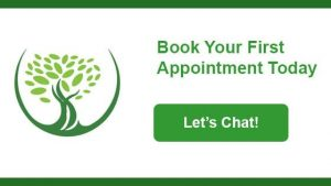 Book your first appointment today graphic and link for Grove Dentistry